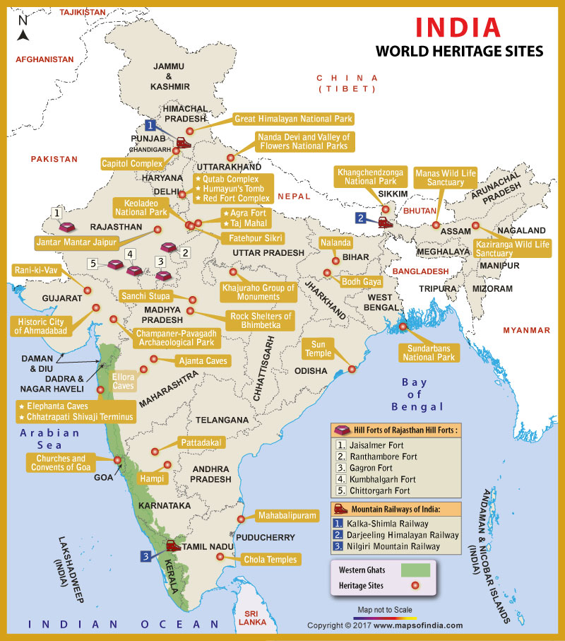 world heritage site map india