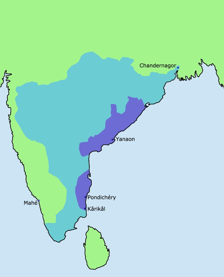 french in india map