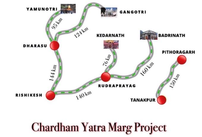 chaar dhaam 900 km project map